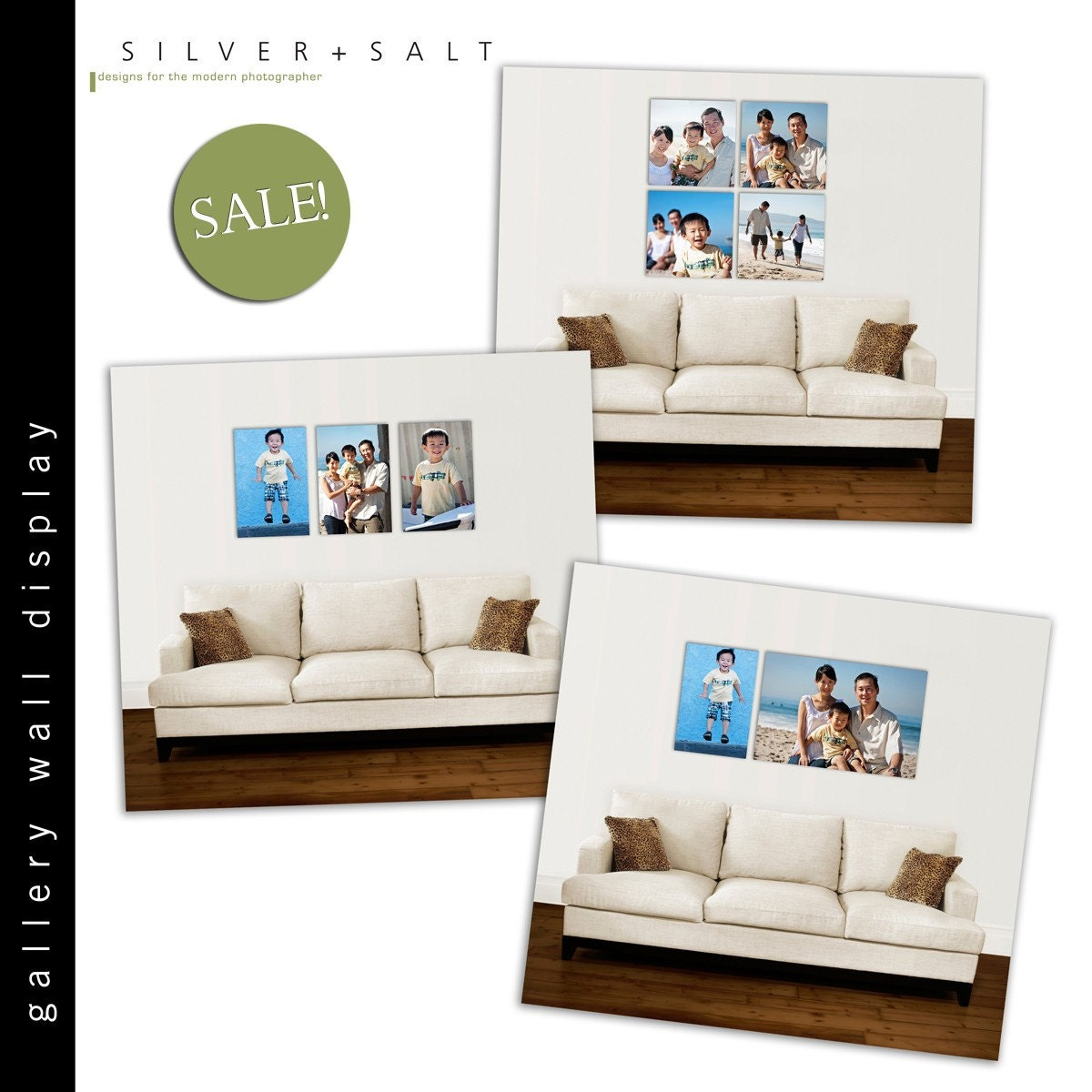 Items similar to gallery wall display photoshop - Photo wall display template ...