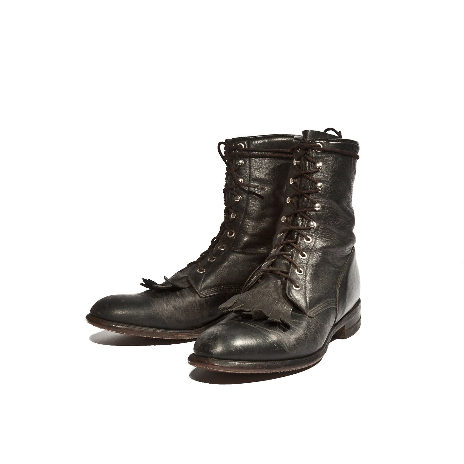 s justin roper boot in lace up black leather by
