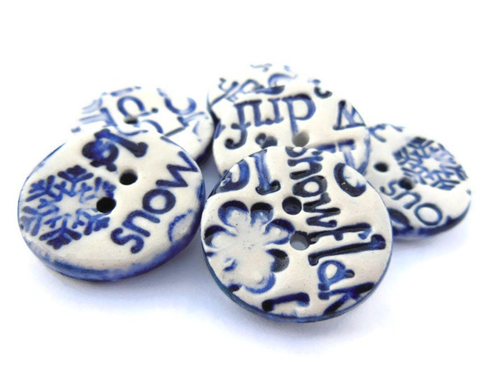 Navy Blue Christmas Phrase Buttons, Winter Words Buttons, Handmade Ceramic Buttons, Let It Snow, Holiday Buttons, Jumpers, Card Making - ThisOnesMineDesigns