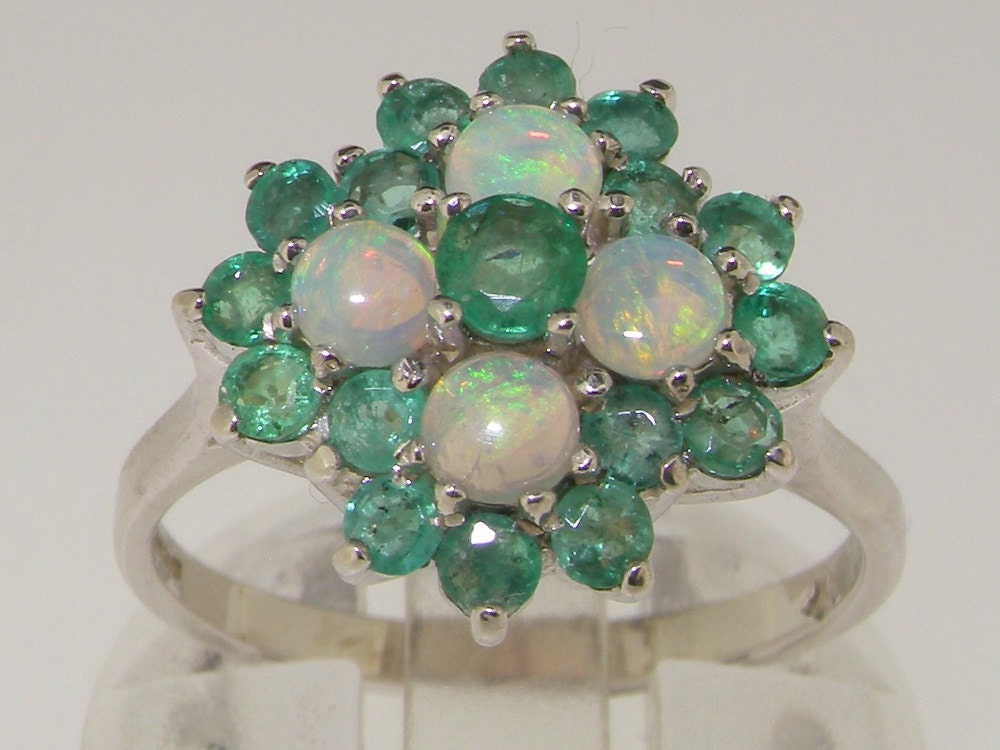 Solid 925 Stelirng Silver Emerald  Colorful Opal Anniversary Ring English Vintage Design Unique Cluster Flower Ring  Customizable