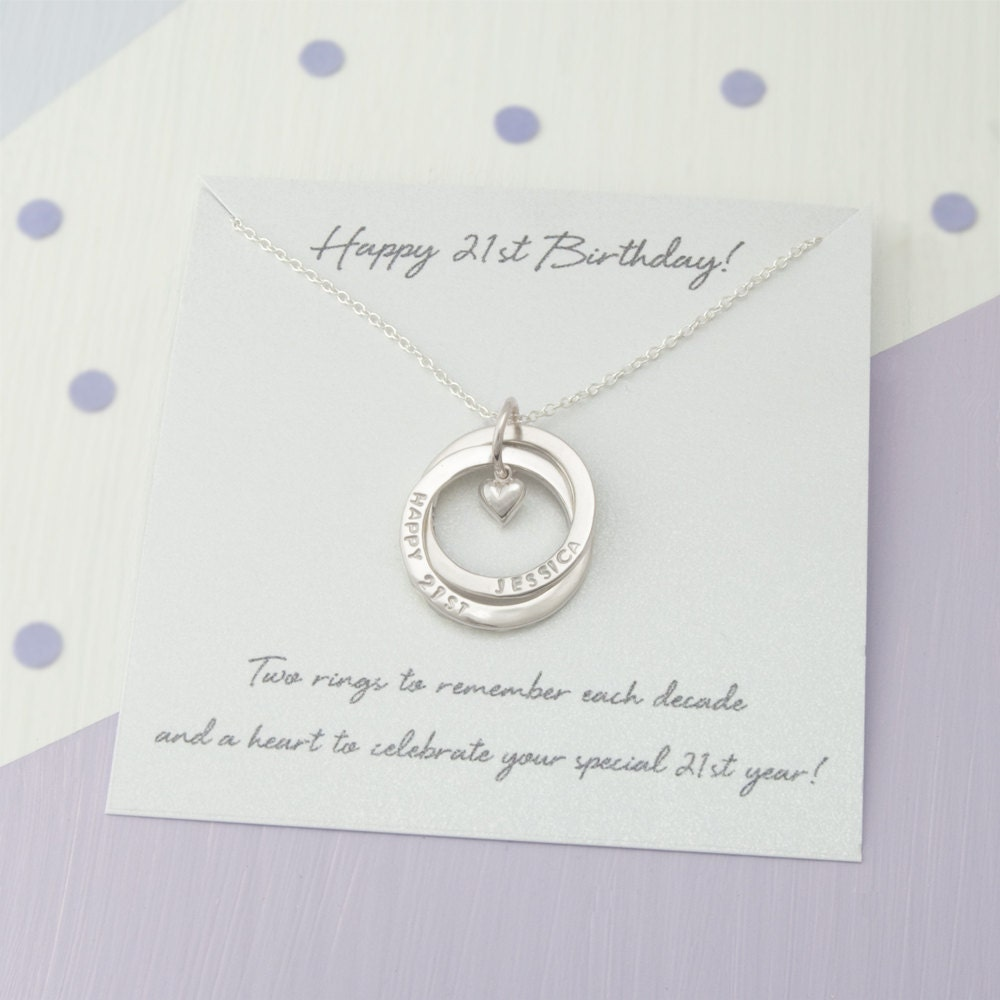 Personalised 21st Birthday Gift For Her Personalized 21st Birthday Gift For Daughter 21st Birthday For Her  21st Birthday 2 Ring Necklace
