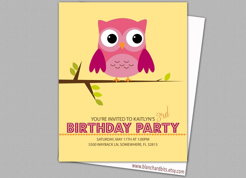 Custom Digital Owl Birthday Invitation, Owl Birthday Party, 5x7 PRINTABLE INVITE- BI2: Owl on a Limb