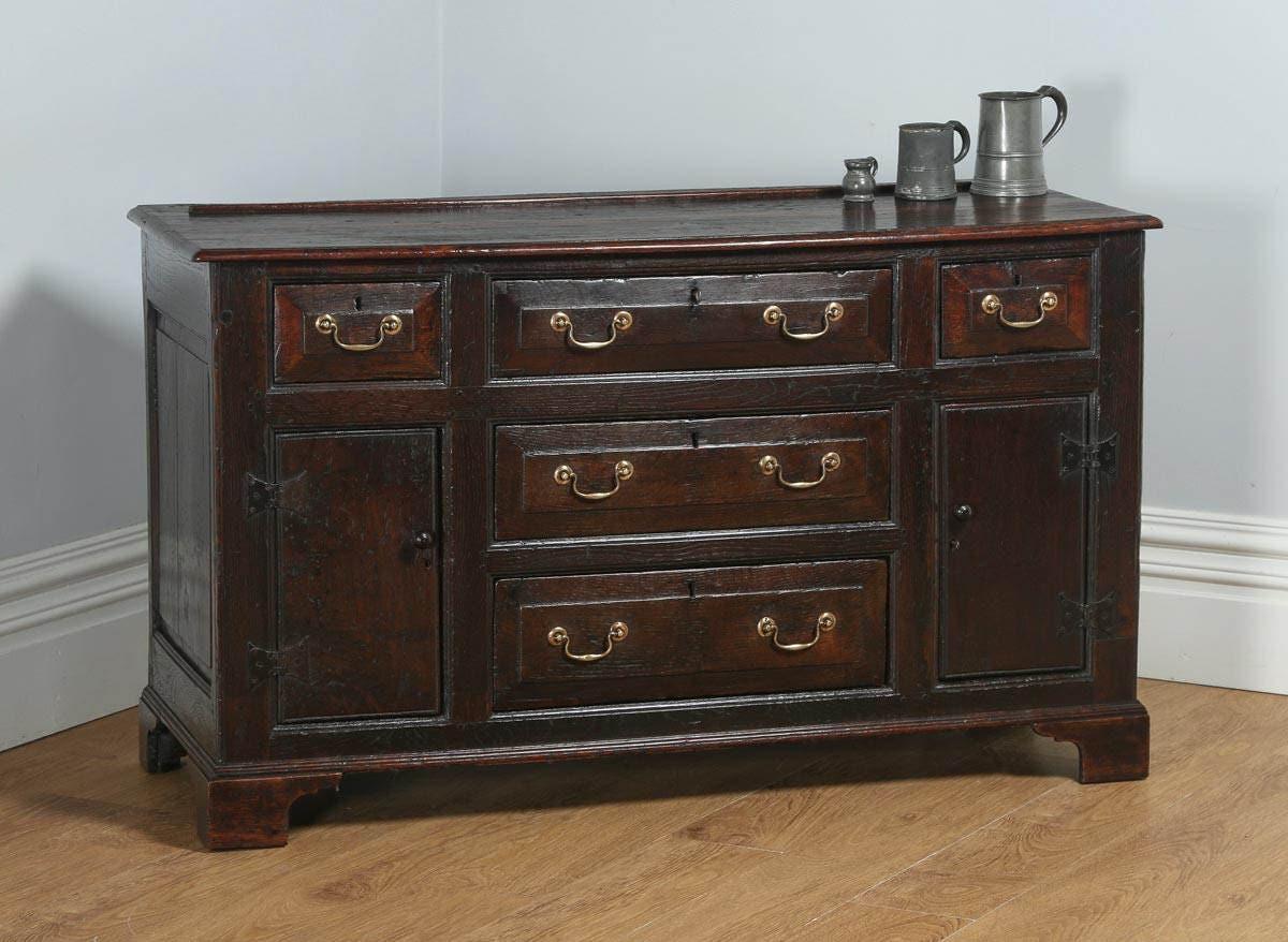 Antique Welsh Georgian Bog Oak Sideboard Dresser Base (Circa 1740)