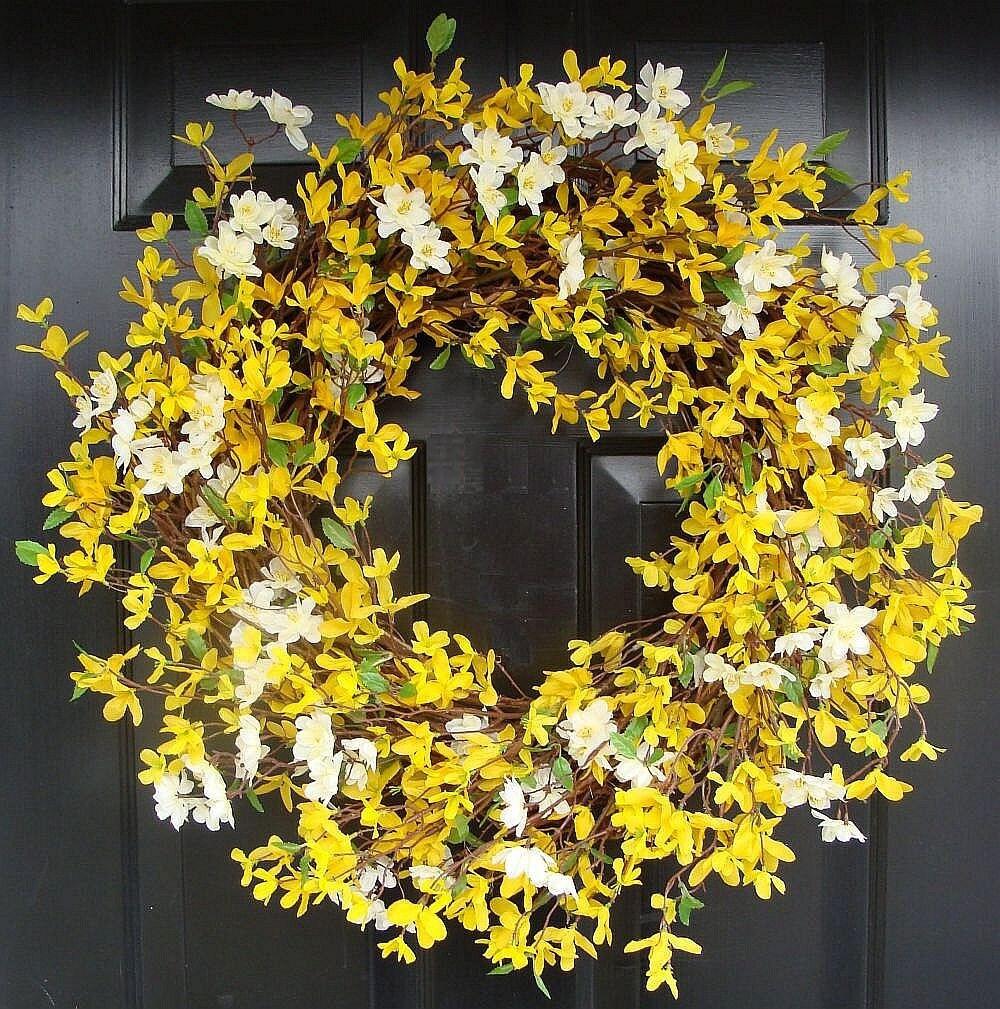 Year Round Wreath Spring Forsythia Wreath By Elegantwreath