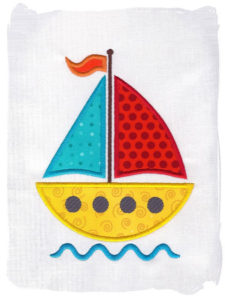 Sailboat machine embroidery applique by pinkfrogcreations