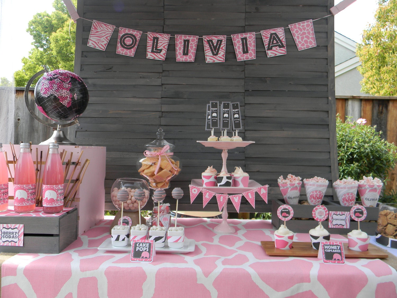 items similar to pink safari elephant baby shower printable collection