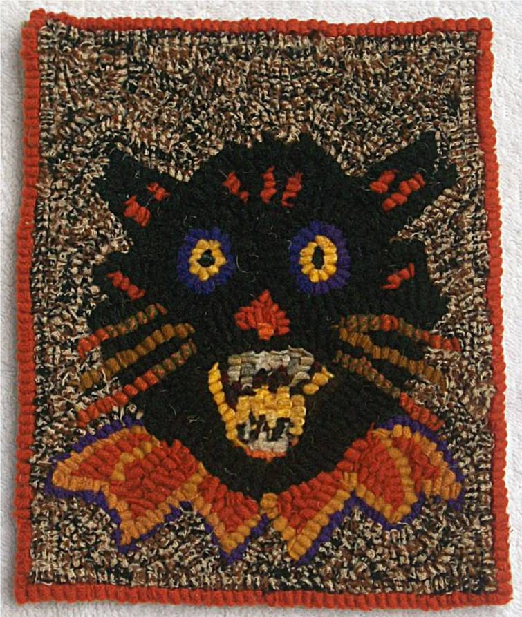 Hooked Rug Halloween Scary Black Cat By Maymesheep On Etsy