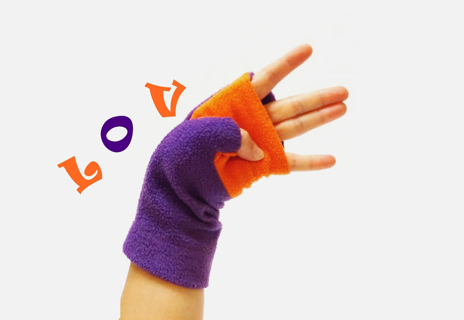 Fingerless Gloves Purple Orange Love - BZfingers