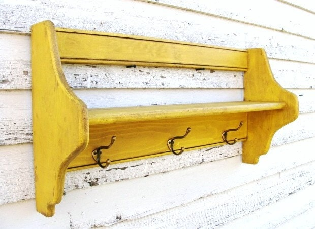 Yellow Wood Shelf with Hooks, for Coats Keys Storage Entryway Foyer Wall Decor for your Home