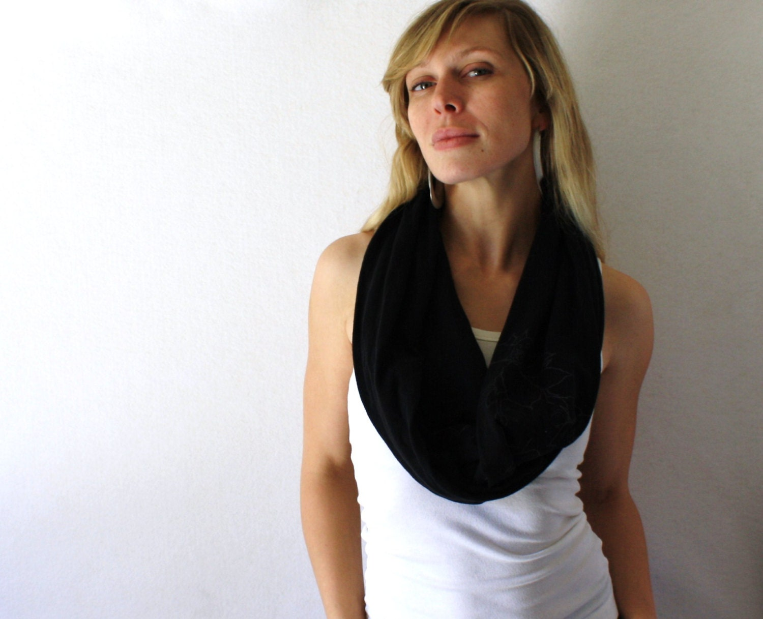 Up-cycled Black Circle Scarf -  Organic Cotton - Black Scarf  - Infinity Scarf - Loop Scarf - Spring Fashion - TheSilkMoon