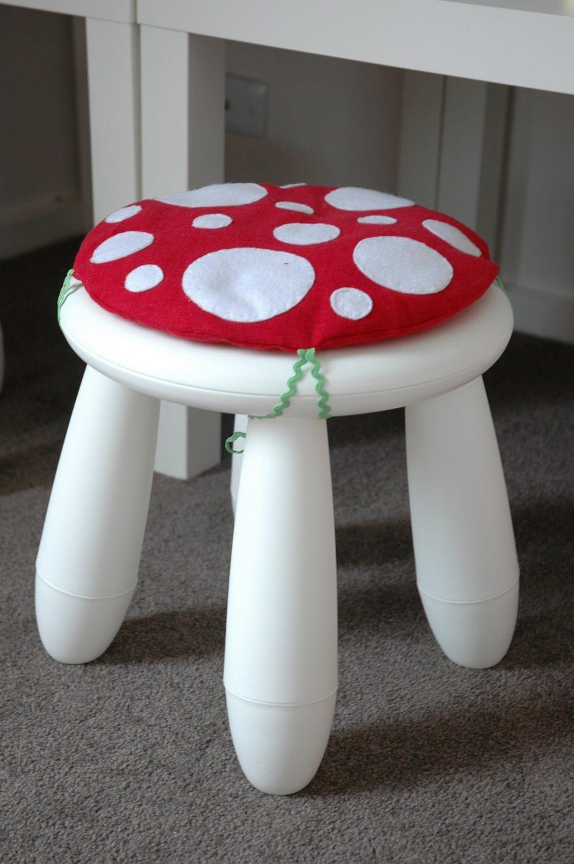 Items similar to toadstool cushion red children kids cushion for ikea mammut stool chair on etsy - Ikea mammut stuhl ...
