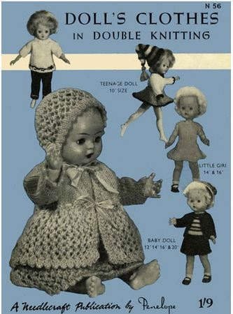 Vintage Doll's Clothes Knitting Pattern .Penelope teen dolls 10-16 inch and ...