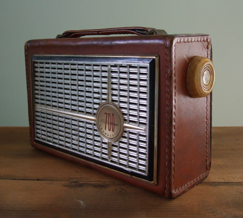 Silvertone 700 Transistor Radio Genuine Top Grain By
