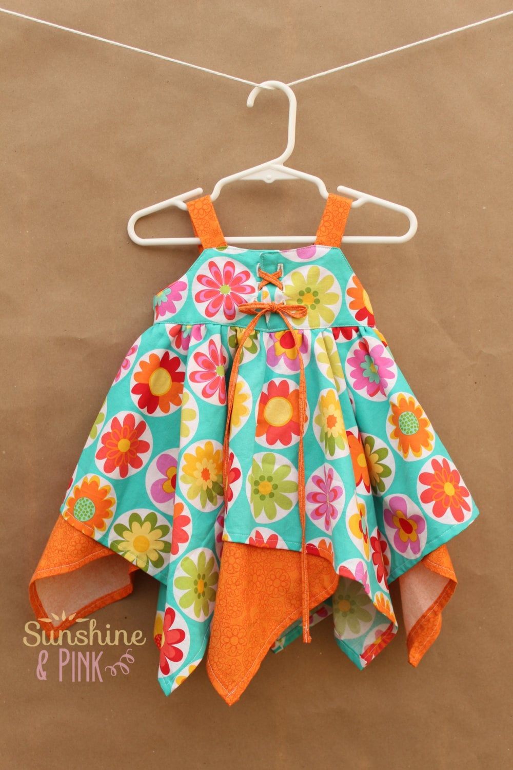 18-24 Month Blue and Orange Squared Circle Skirt with Corset Top