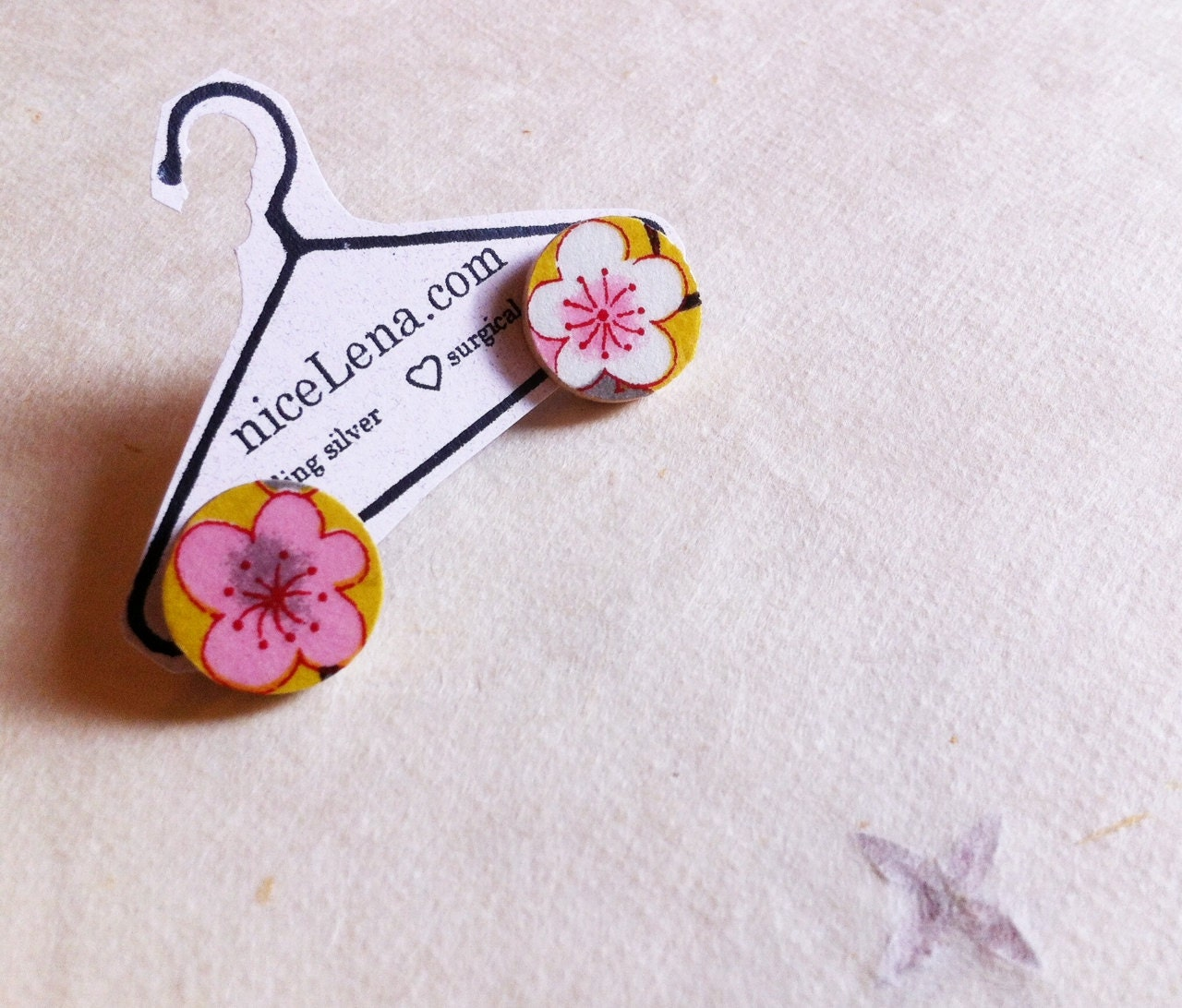 Yellow Cherry Blossom- Small Origami post earrings