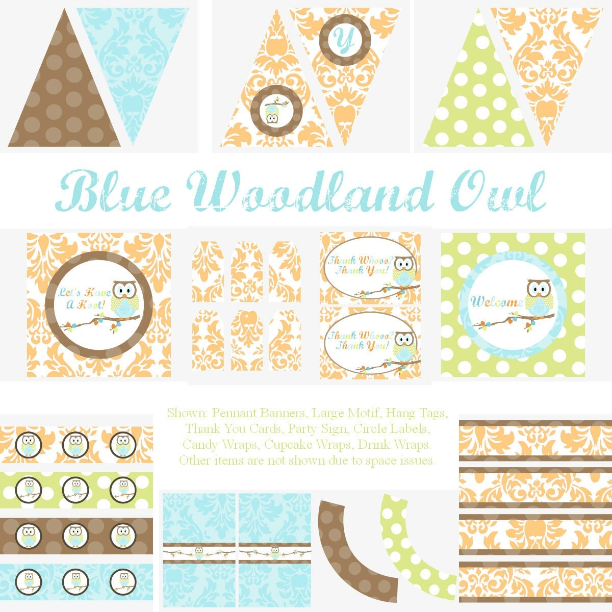 Woodland owl party decorations for birthday party or baby shower diy