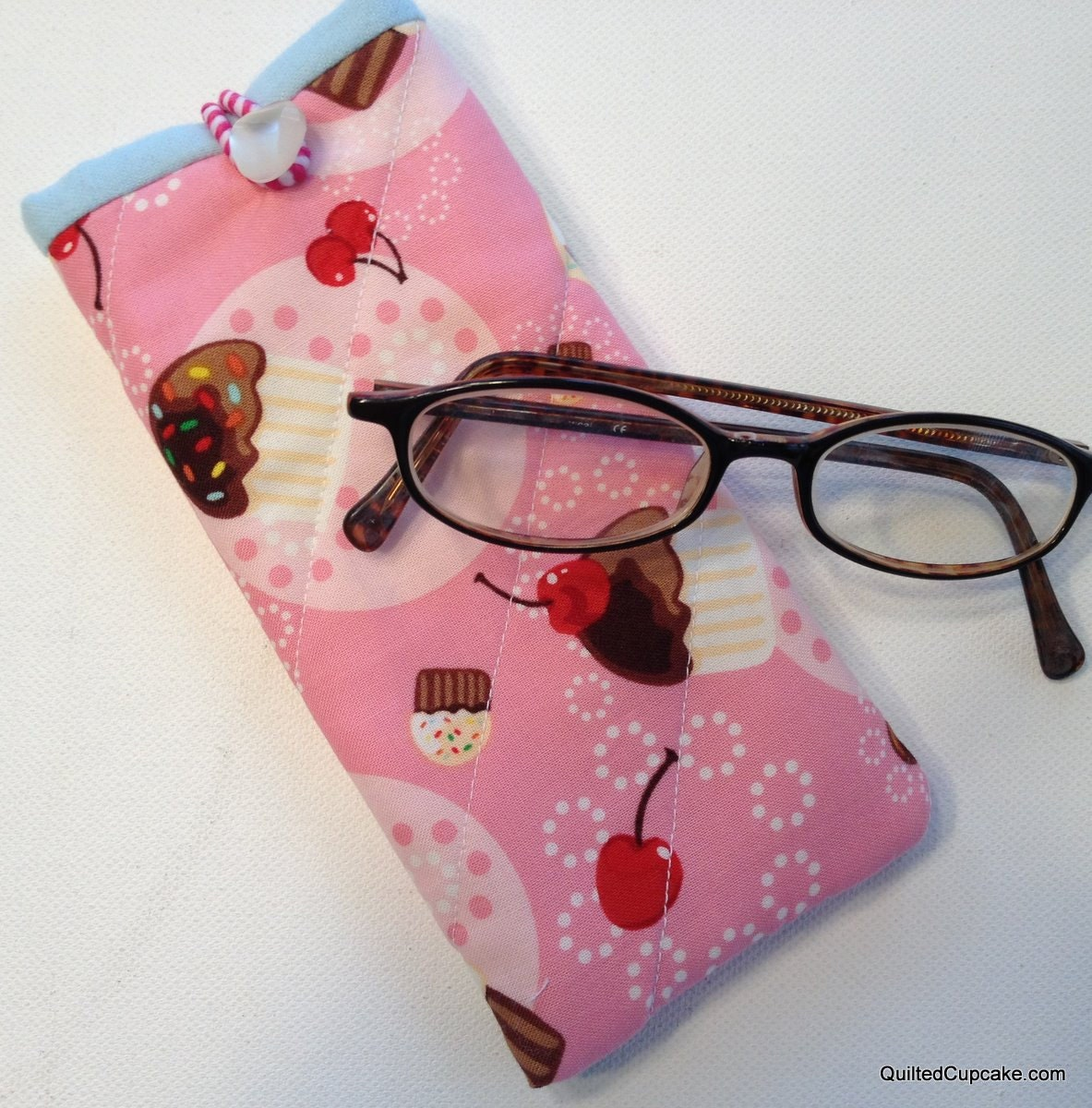 Pink Cupcake Glasses Case Handmade