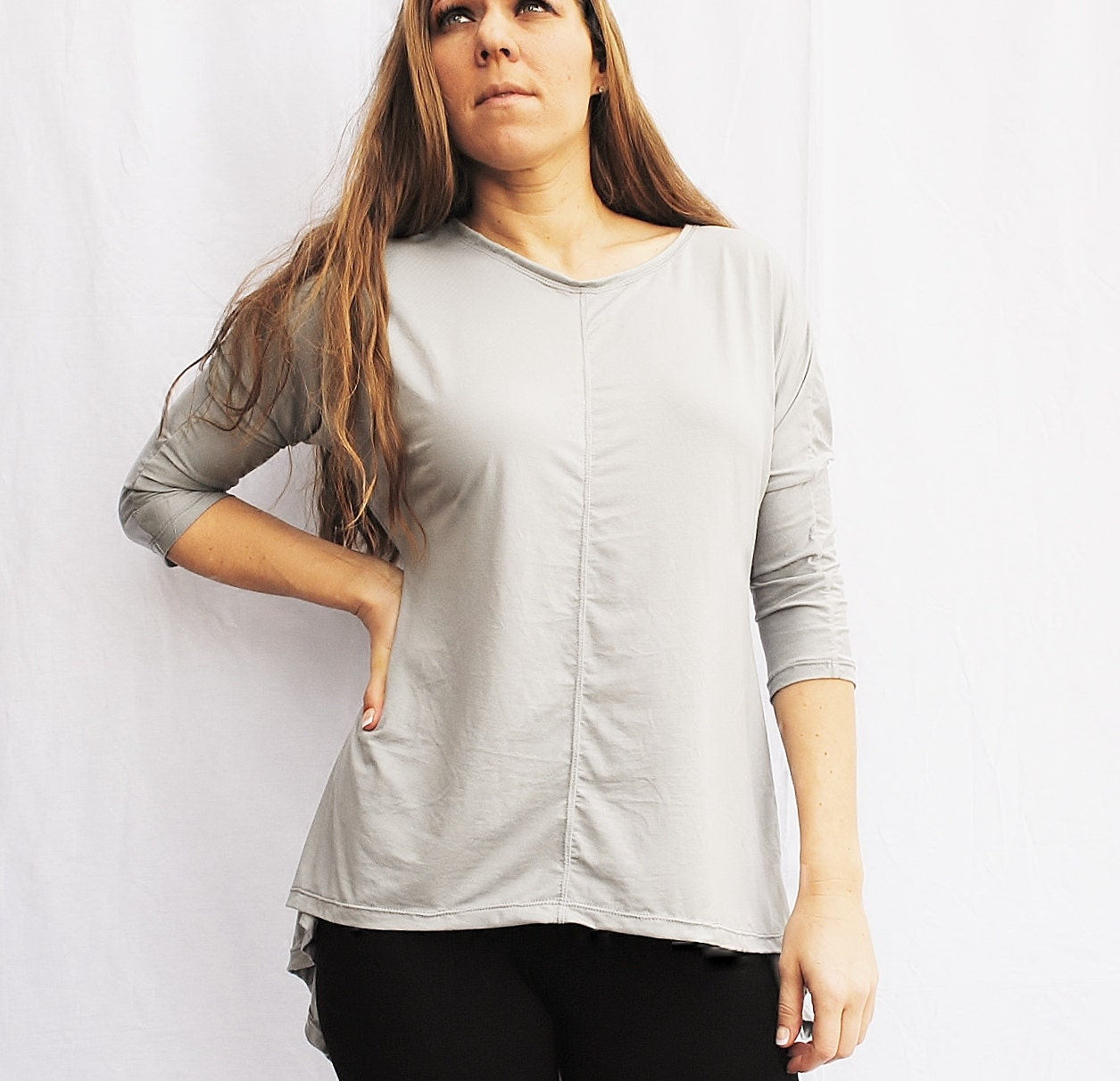 Womens Asymmetric Swing Top Organic Knit in Silver Light Gray - FineThreadz