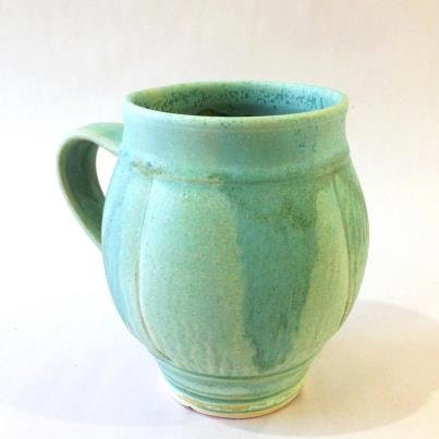 POTTERY MUG BLUE Green 20 oz. Handmade, Large, Aqua, Soft Matt Glaze with Pumpkin Pillow Like Sides - CoriSandlerPOTTERY