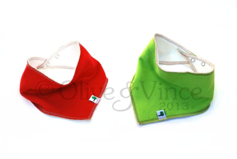 Bright red green bib bandana scarf set two baby bibs organic cotton bamboo toddler kids clothing christmas gift elf costume cute funky - OliveAndVince