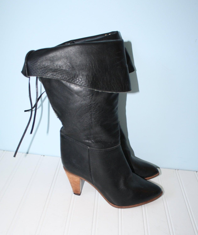vintage black leather pirate boots boho by groovyluvvintage