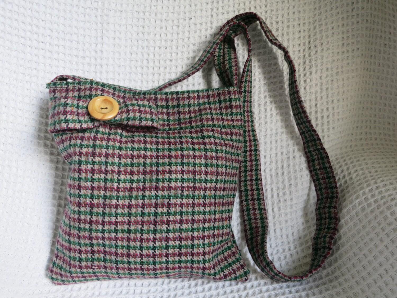 Tweed handbag. Retro. High quality wool fabric.  Hand made. aubergine green grey black