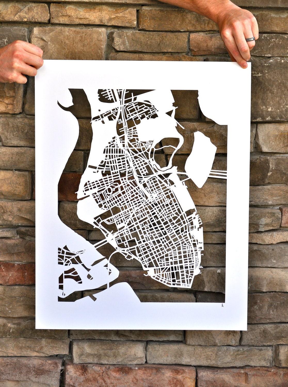 charleston hand cut map
