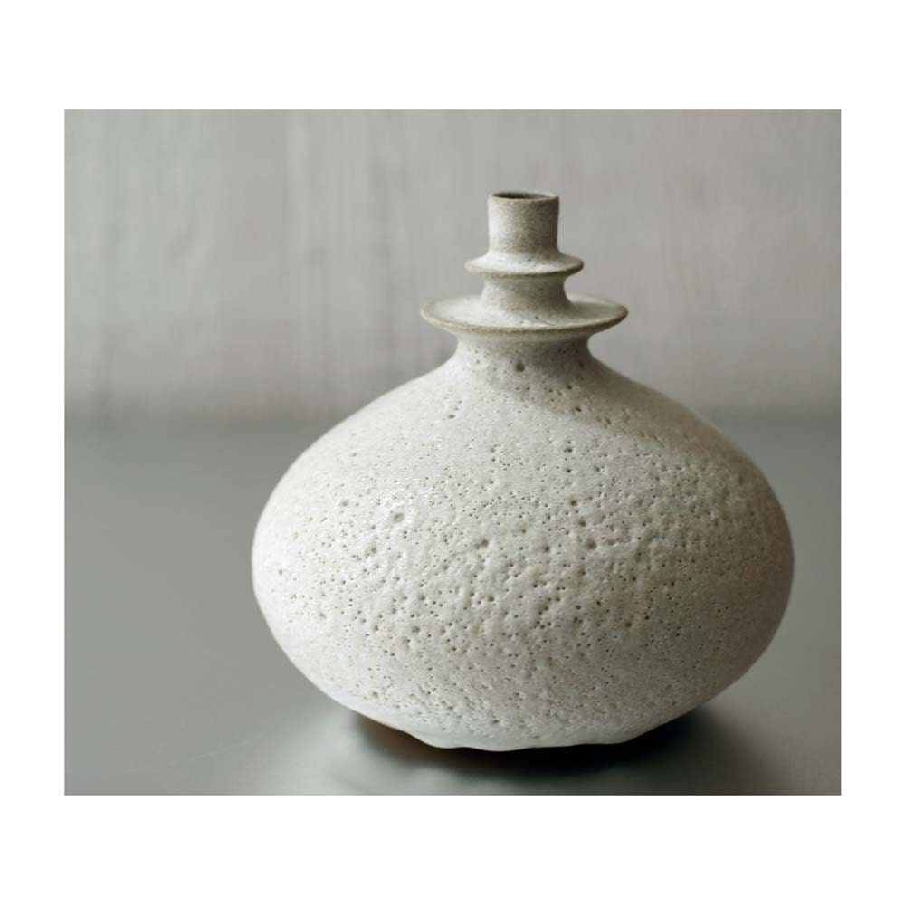 NEW- One Large Double Flanged Rotund Vase in Beach Stone White by Sara Paloma