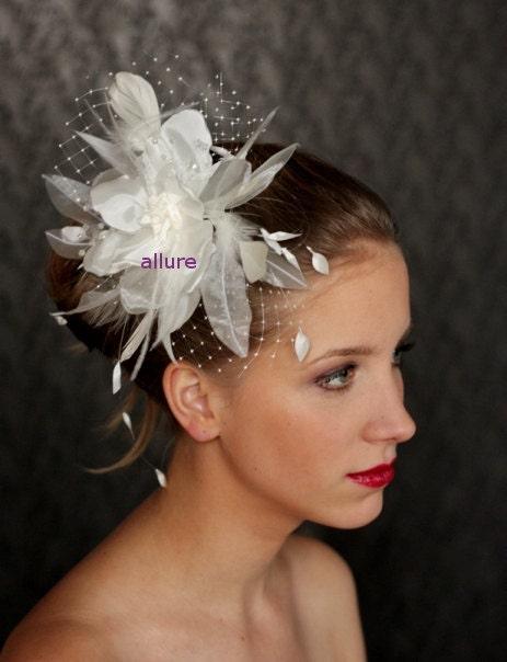 Wedding HAIR FLOWER with veil, fabulous wedding head piece, hairdress ...