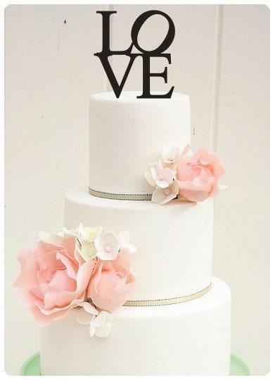 "5"" Single Custom LOVE Wedding Cake Topper - ThePinkOwlGifts"