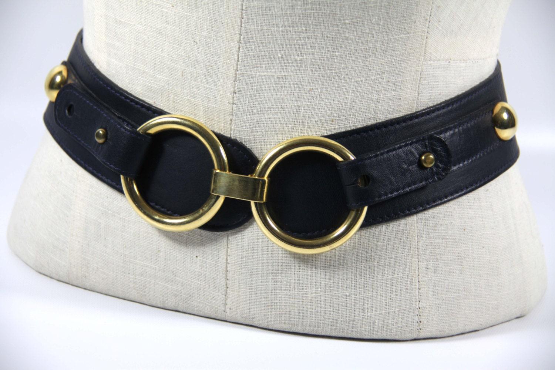 horsebit gold ring wide belt navy blue by