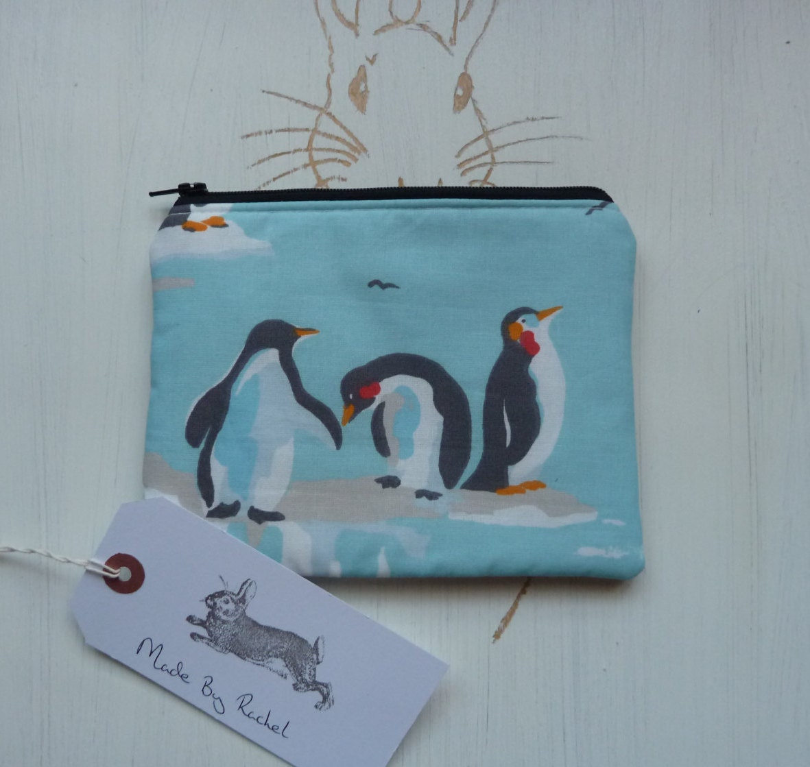 Penguin Makeup Bag Purse Cath Kidston Rare Fabric Cosmetic Pencil Case Padded Lined Handmade