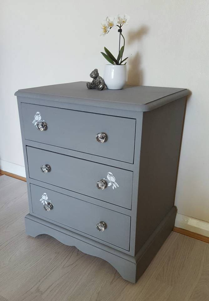 NOW SOLD Dark Grey Bedside Chest  Hand Painted  RobinsBirds over Crystal Handles Bedroom Furniture