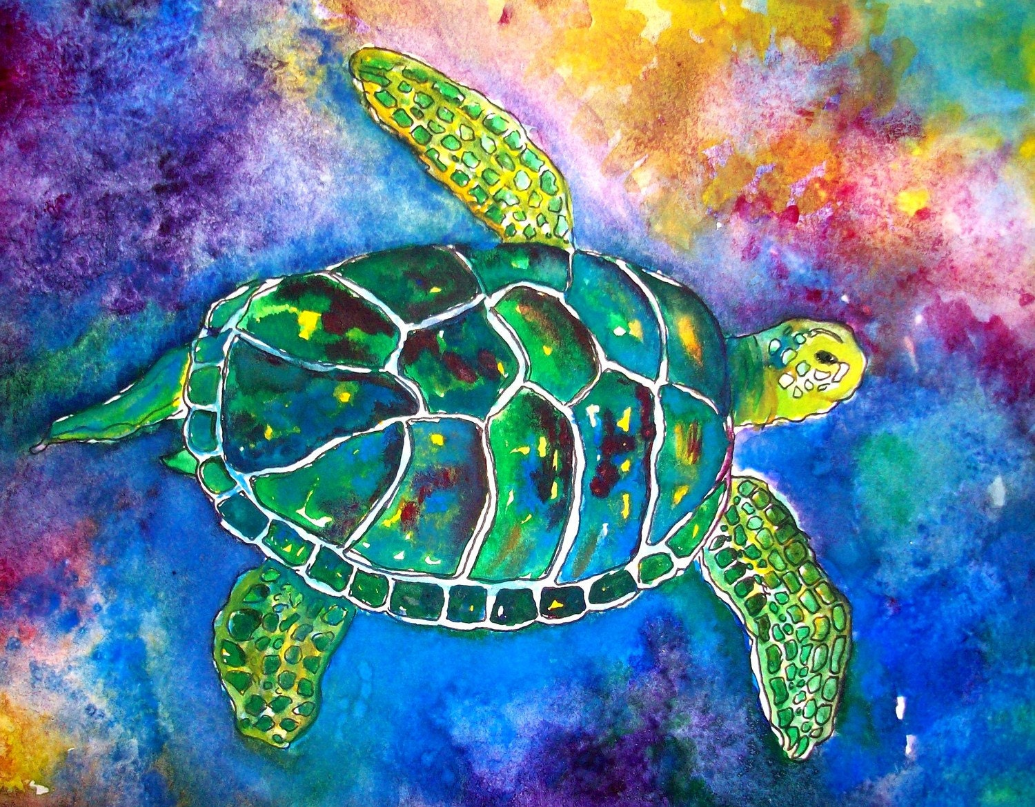 Honu Sea Turtle 5x7 Print By Artbymtb On Etsy