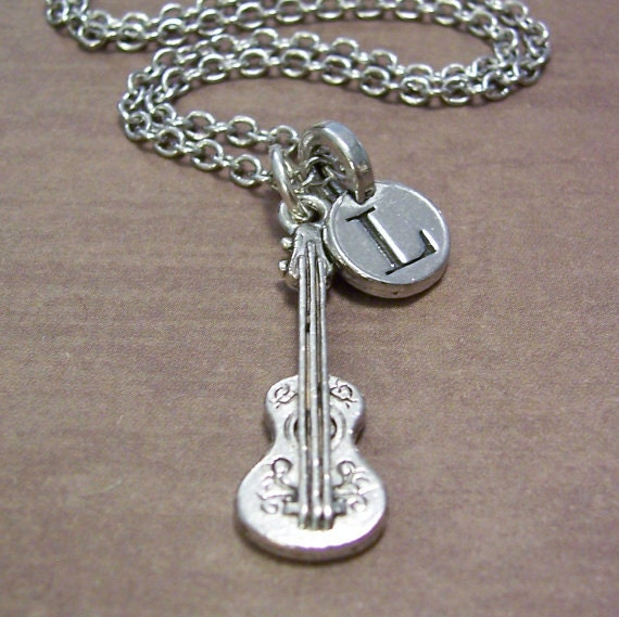 guitar charm necklace guitar charm initial by fiftyeighteen