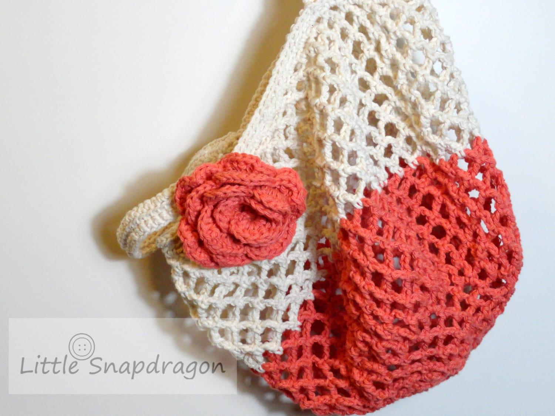 SALE Market Tote, crochet shopping bag with detachable flower. Dark ...