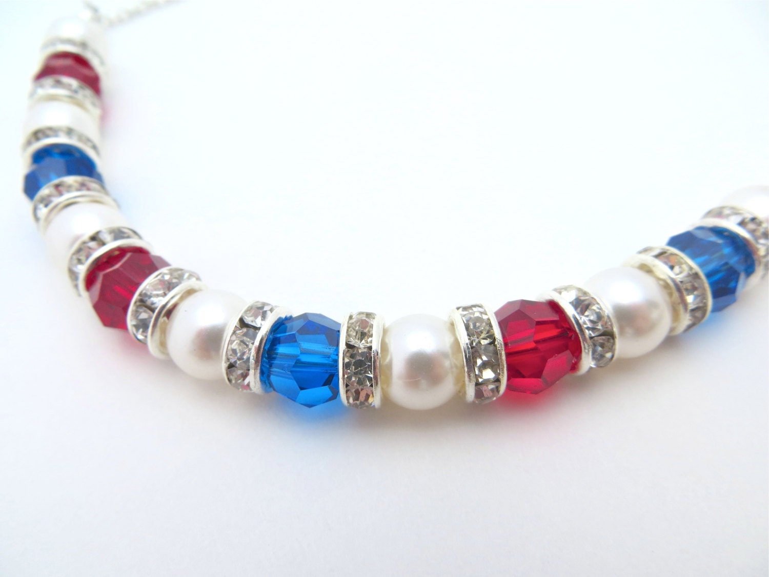 Patriotic Necklace, Red, White and Blue Necklace, Memorial Day Necklace, Forth of July Necklace, USA Necklace With Swarovski Crystal Pearl - LucidDreamsJewelry