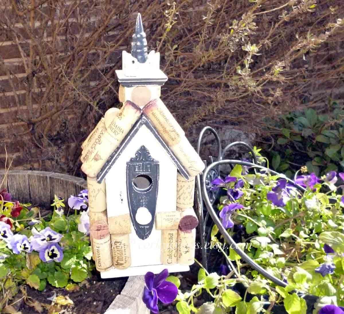 Wine cork bird house, wine tweet retreat for your feathered friends - Corkycrafts
