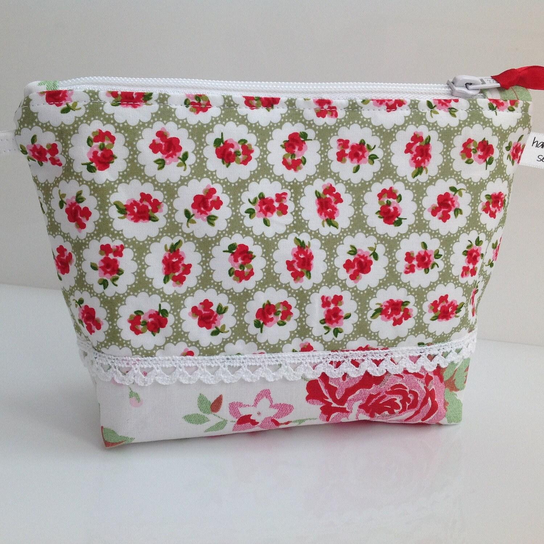 Green Floral Fabric Cosmetic Bag Handmade in Scotland  Features Cath Kidston  IKEA Rosali Fabric
