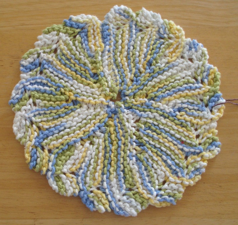 Cotton Knitted Dishcloth Pattern : Cotton Dishcloth Washcloth or Doily Knit in Round by LoveNYarn