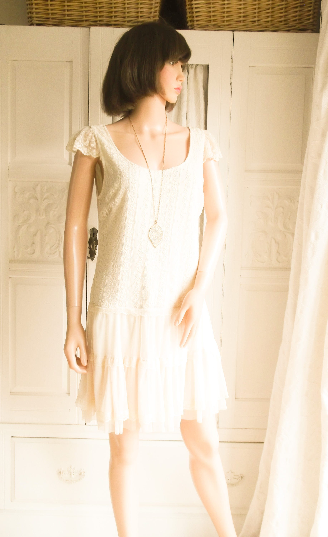 Unworn Cream lace dress Mini Dress Summer Boho dress Festival Summer Boho Wedding dress  Cream lace mini 1920s style cream lace dress