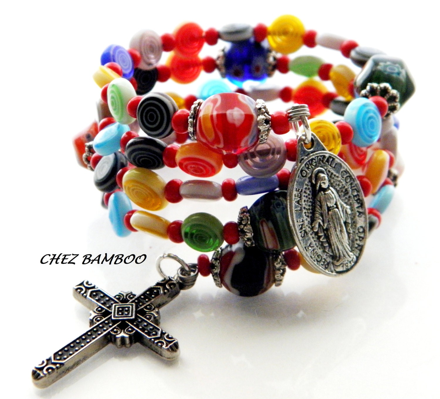 Rosary Bracelet Five Decade Catholic Wrap Miraculous Medal Millefiori Murano Glass Wedding Bridal Religious Mothers Day Easter Cross - ChezBamboo