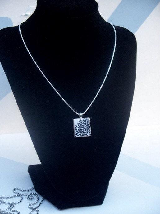 jane austen jewelry   scrabble tile pendant black white portrait