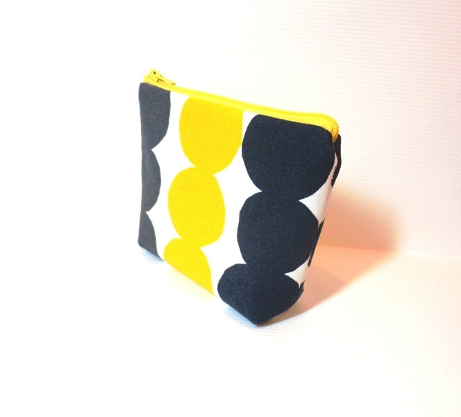 Small  Pouch Small Change Purse Small Wallet  Small Card Pouch Yellow, Black and Grey Marimekko - handjstarcreations