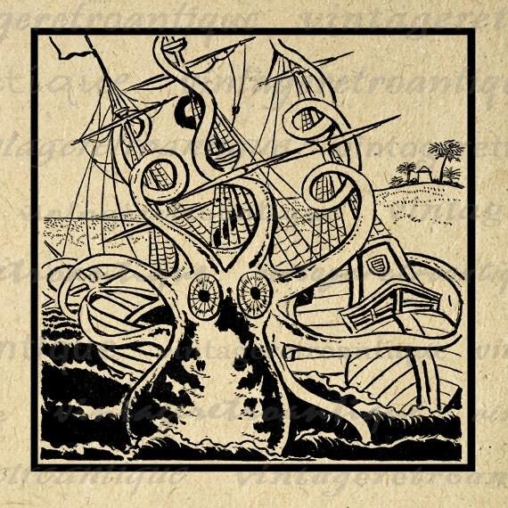 Vintage Kraken Illustration Printable Kraken Attacking