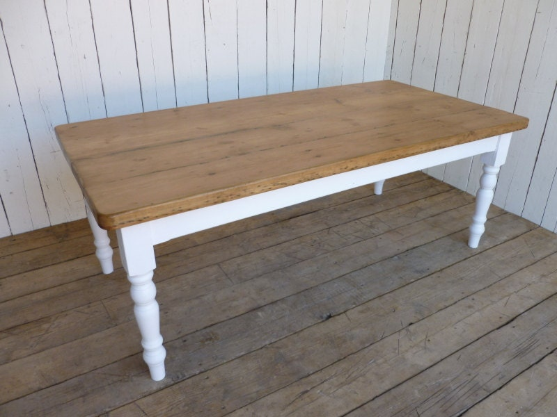 Rustic Farmhouse Kitchen Table Reclaimed Country Cottage Farmhouse Dining Table Painted Legs