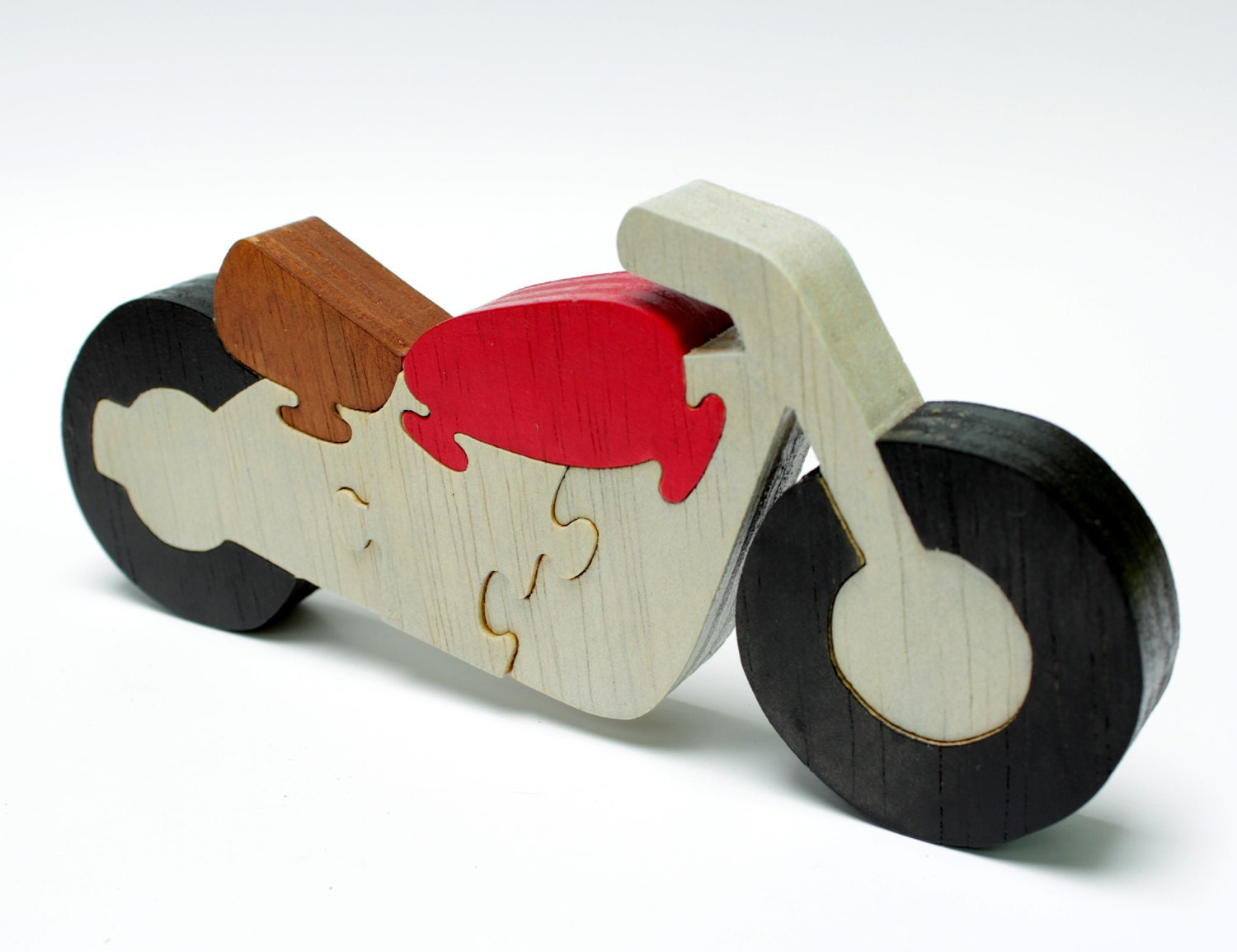 Puzzle Motorcycle. Kids puzzle, children's puzzle, wooden game, wood toy.