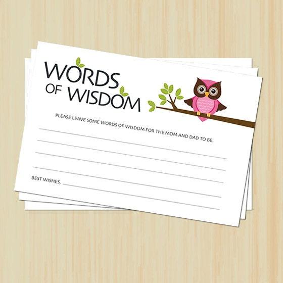 words of wisdom card baby shower owl baby shower printable diy