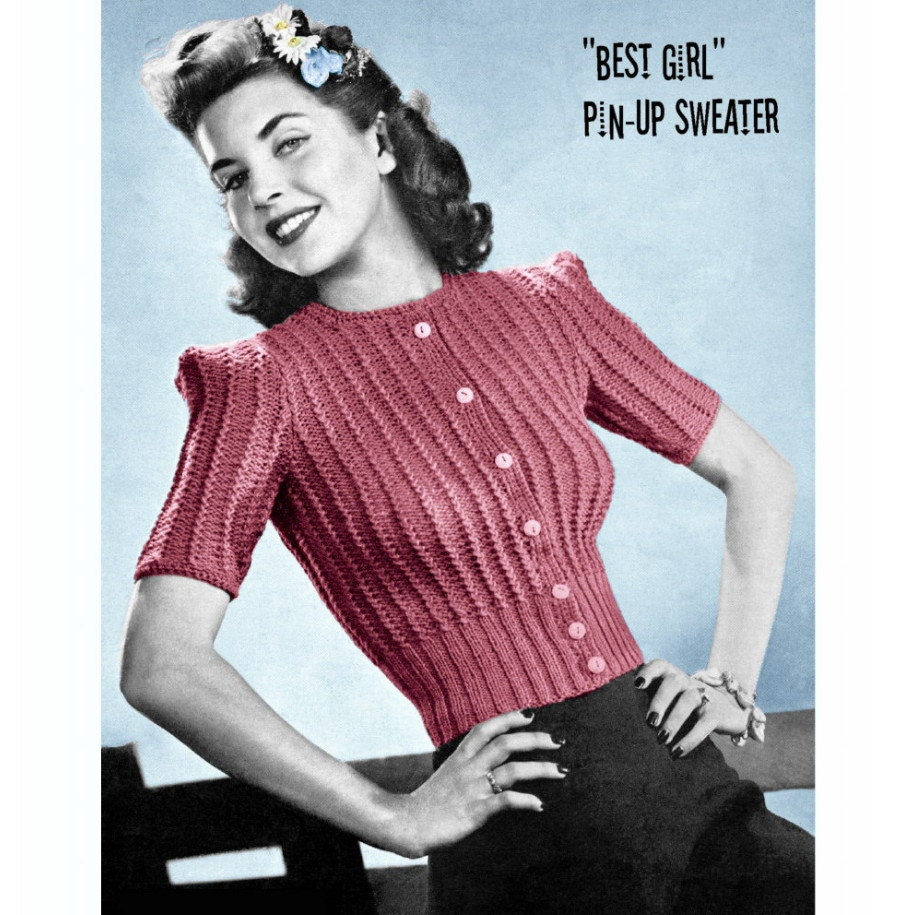 Old Knitting Patterns : Vintage Knitting Pattern 1940s Pin Up Cardigan by 2ndlookvintage