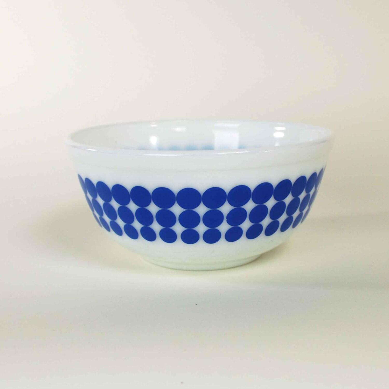 Vintage Pyrex Blue Polka Dot Mixing Bowl By